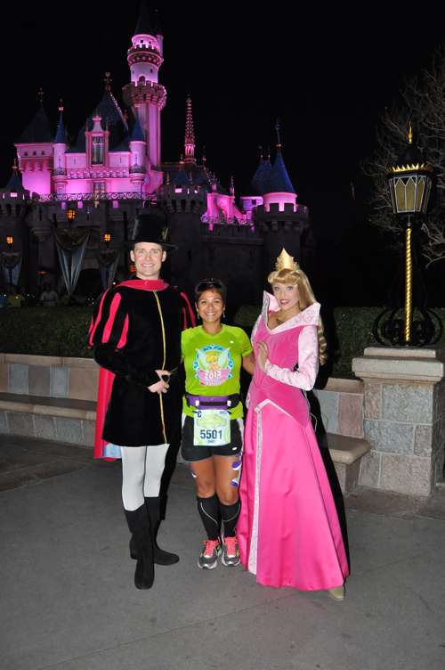Much better castle shot with Disneyland's Princess Aurora & Prince Phillip