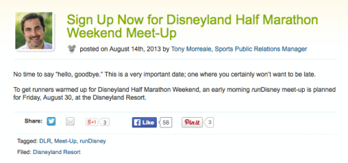 Screen shot of a meet-up announcement on Disney Parks Blog