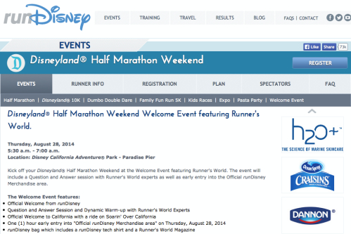 From the runDisney Disneyland Half Marathon Weekend page