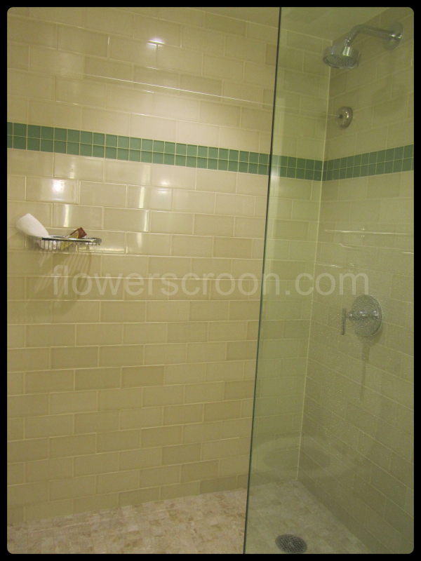 Open shower inside bathroom