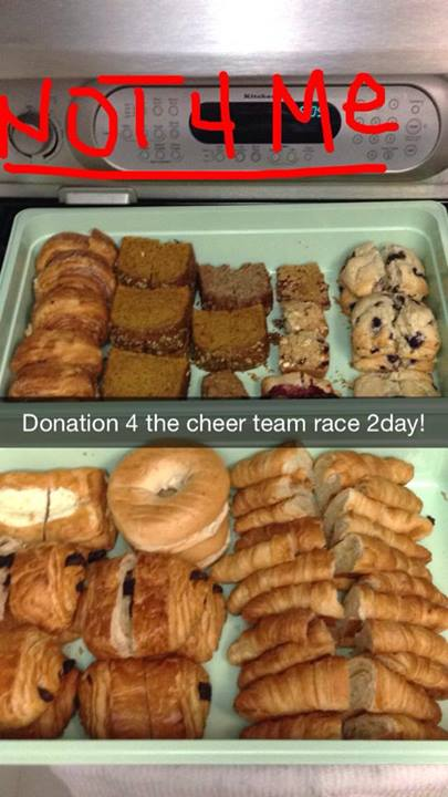 Starbucks pastry donations for the team, volunteers and runners