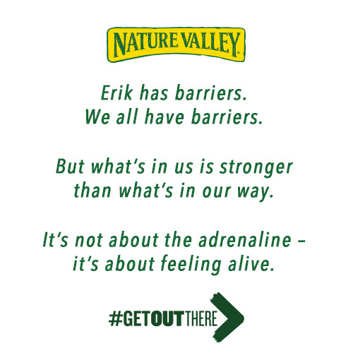 Click to follow Erik's journey on Tumblr at  http://naturevalley.tumblr.com/tagged/nobarriers