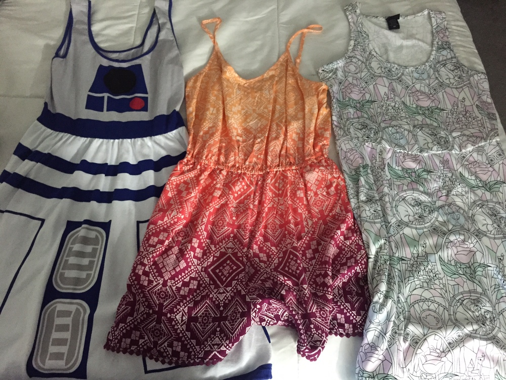 L to R: R2D2 Dress (Star Wars), print romper (Adventureland), Beauty & The Beast stained glass dress (Fantasyland)