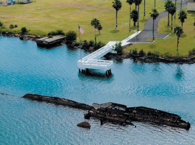 USS Utah Memorial (ARIEL View) Pearl Harbor