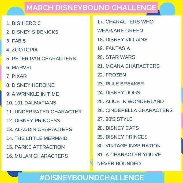 March Disneybound Challenge schedule