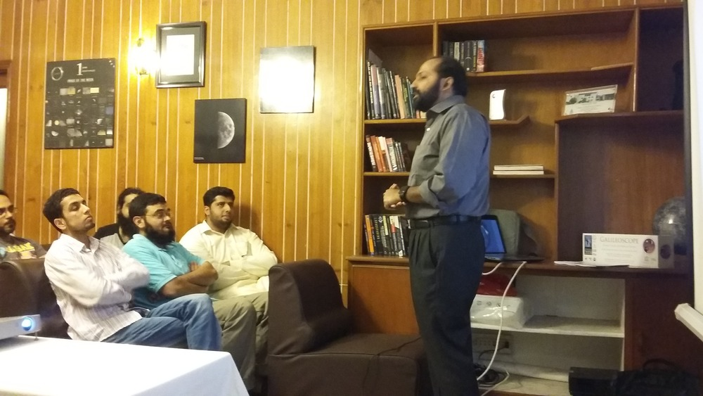 President of Lahore Astronomical Society, Umair Asim, giving an introduction before the presentation.