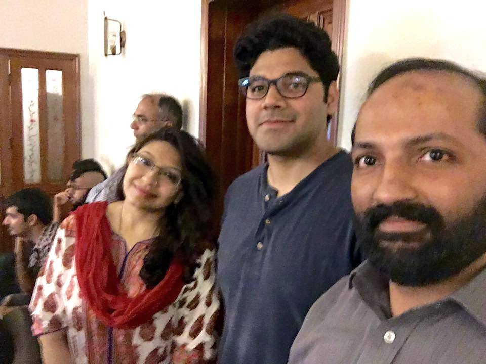 Part of the core team. From left to right: Aamna Saleem (Event Manager), Roshaan Bukhari (Secretary) and Umair Asim (President).