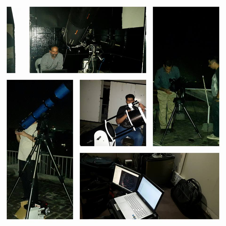 Everyone busy with the equipment. Setting up for Mars. Mian Mateen is seen in the middle, trying his hand at afocal imaging of Mars with his mobile phone camera.