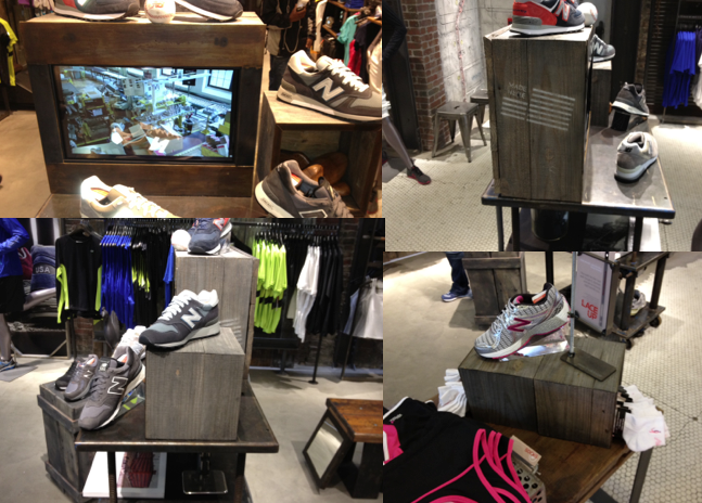 New Balance's Flagship Store in Boston's Copley Square -  several small display boxes & a custom video box