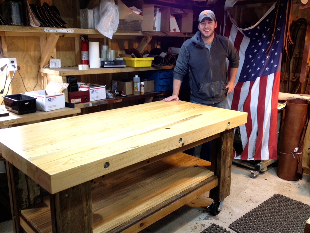Workbench made from Old Mill Beams
