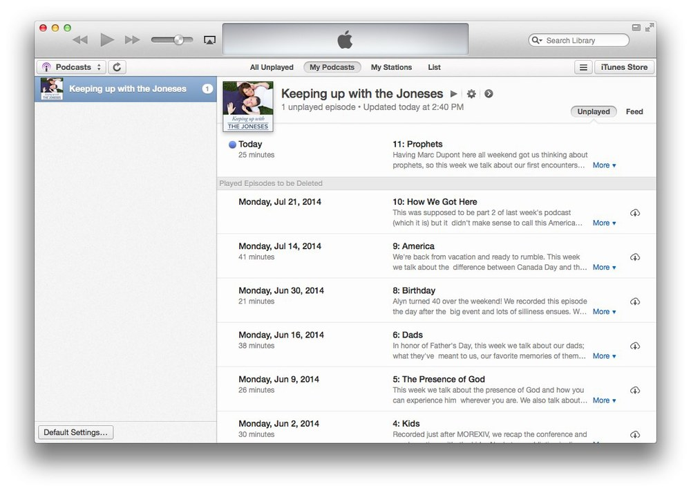 Step 1: Launch iTunes and go to your podcasts.