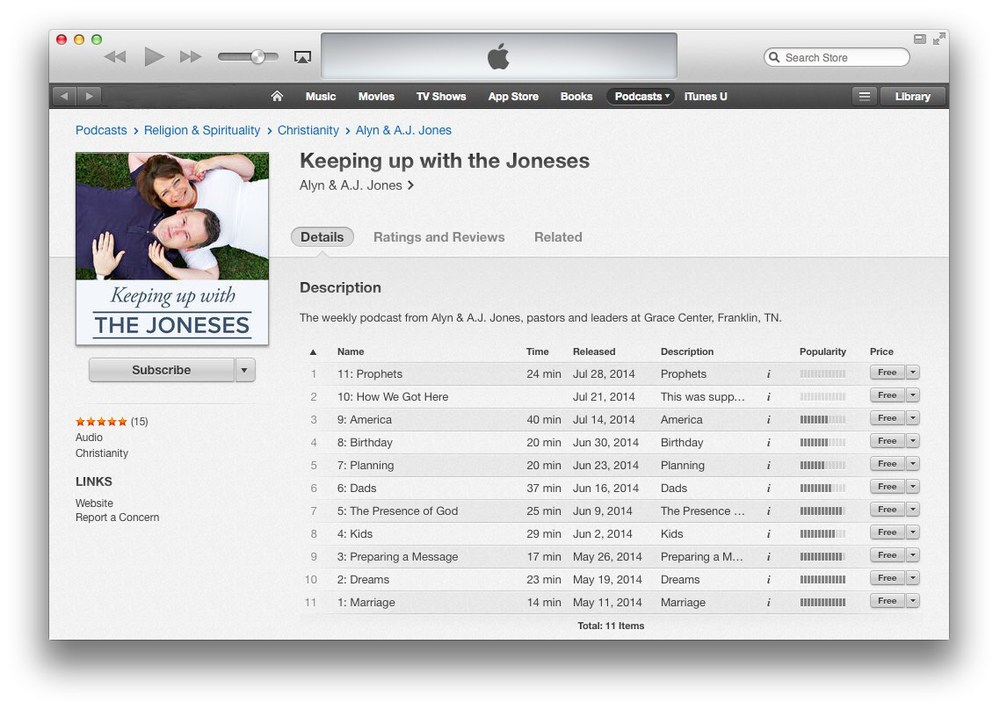 Step 6: To resubscribe to the new feed in iTunes, click on the image above (or click here) and once the above page has loaded in iTunes, click the Subscribe button under the Keeping Up with The Joneses artwork.