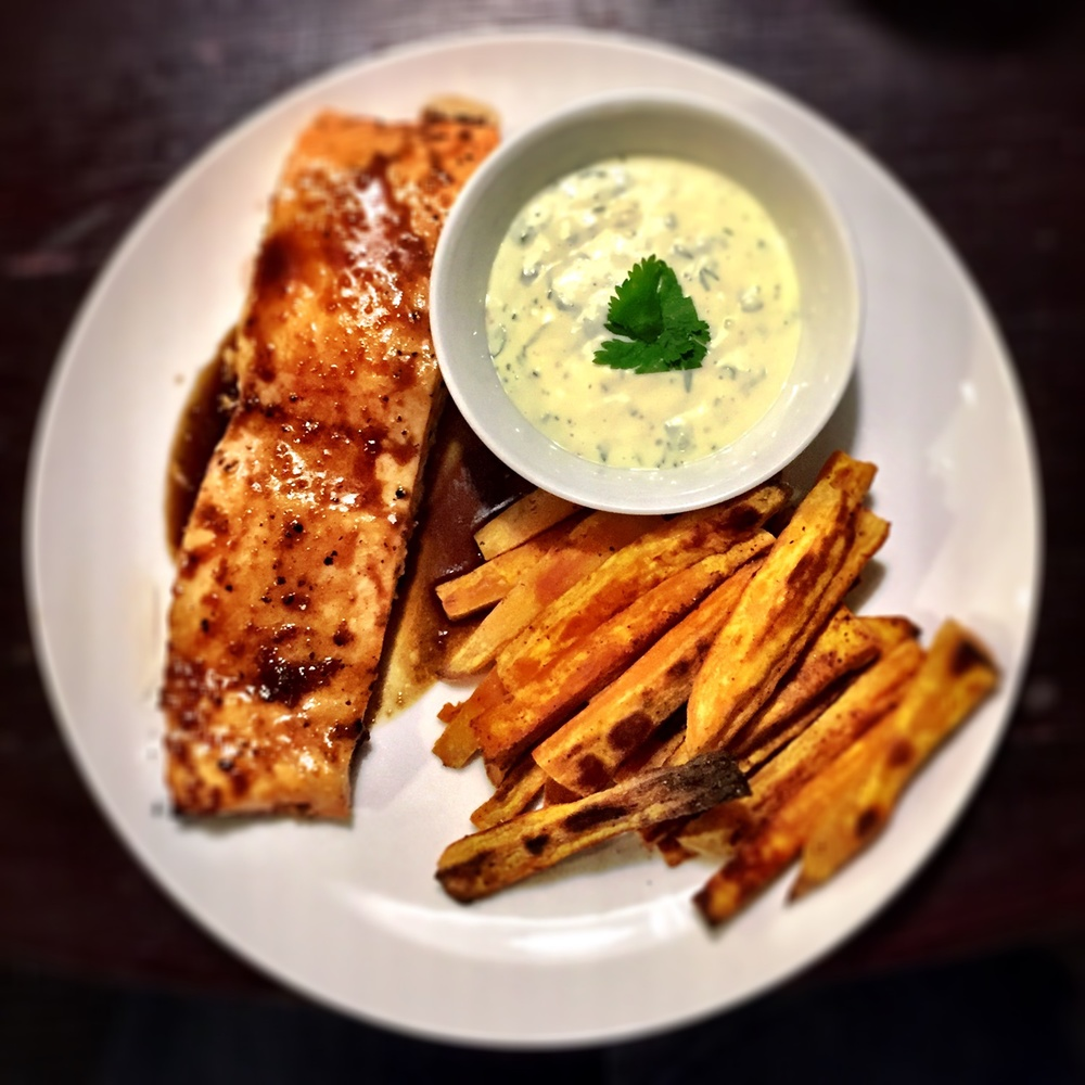 Pictured with heavenly sweet potato fries and homemade zesty aioli.