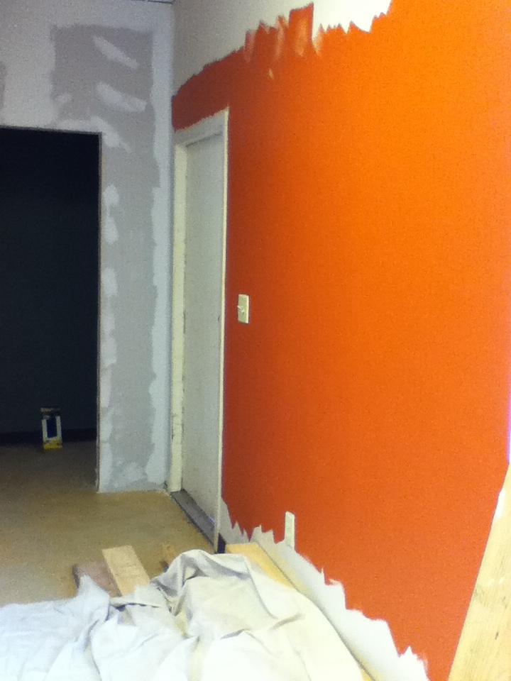 clay red in the hallway! (much more red than orange in real life.)
