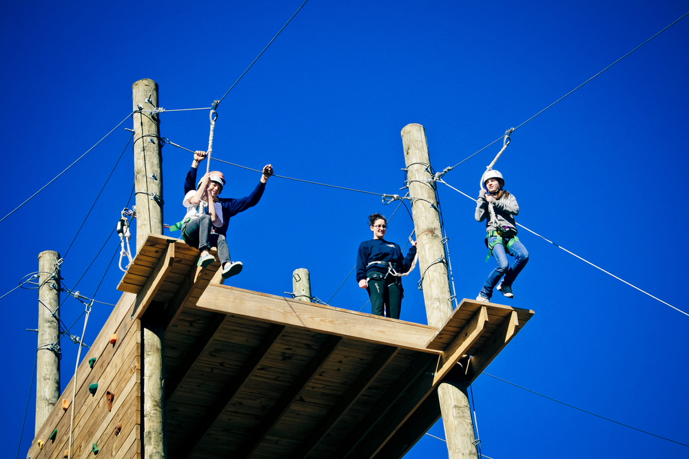 Bryan and Claire facilitating the High Ropes Course