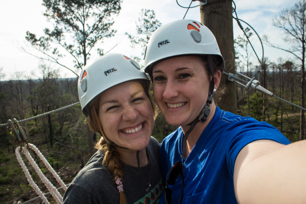 Skittles Lead Counselor Dana with me on the top of the climbing wall at CWR