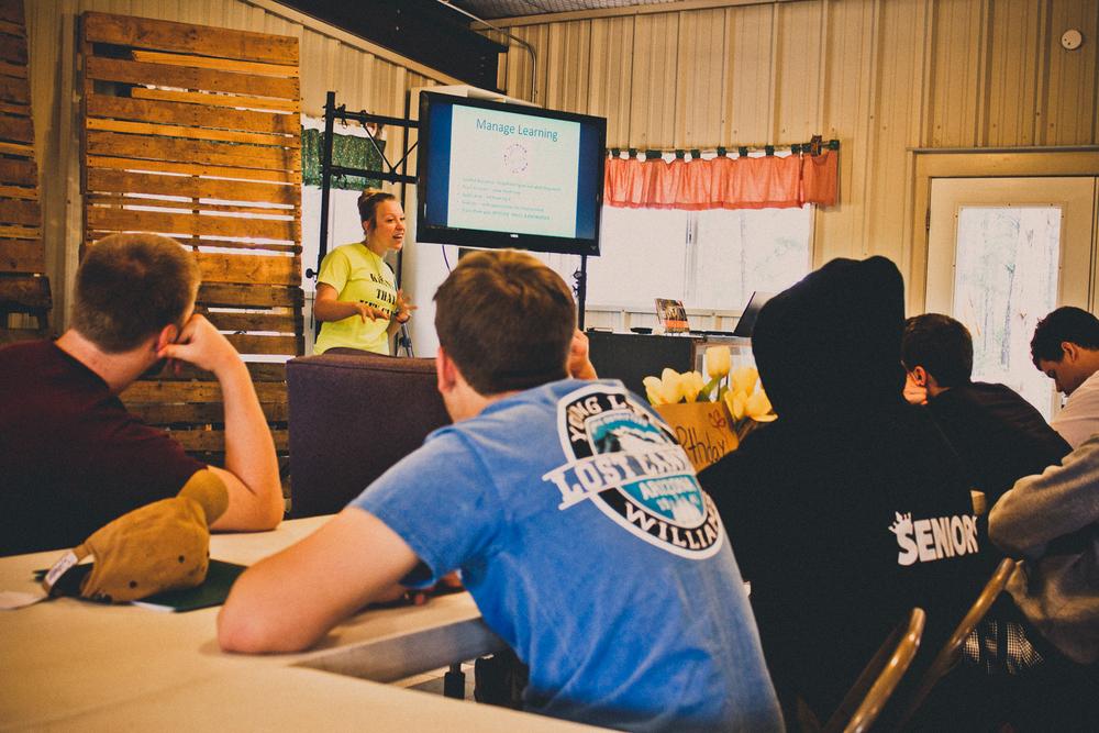 Fireballs Lead Counselor Jordan teaching a session on leadership