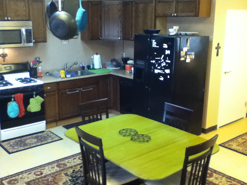 Although my ultimate goal is to build an island in the kitchen, I was finally able to rearrange the kitchen with the table closer to the actual kitchen. I like the way it feels!
