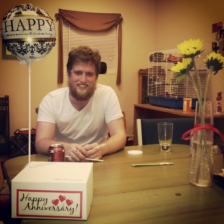 """Beardy Andrew with the Tiff's Treats cookies & silly """"Happy Anniversary"""" decorations"""
