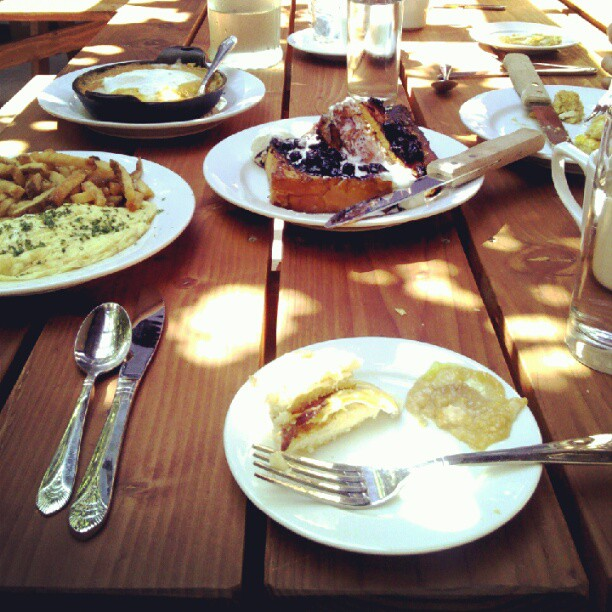 Salted caramel french toast w/blueberry compote, etc. @ Interurban #pdx