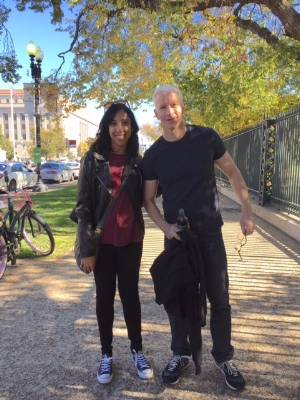 Tawheeda with journalist Anderson Cooper in 2016