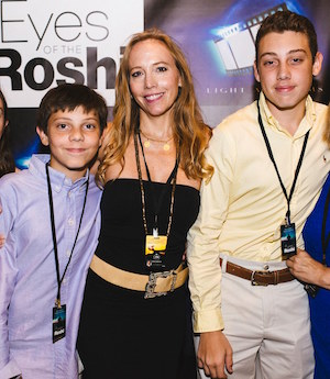 Stacy Whittle with her two sons at a premiere