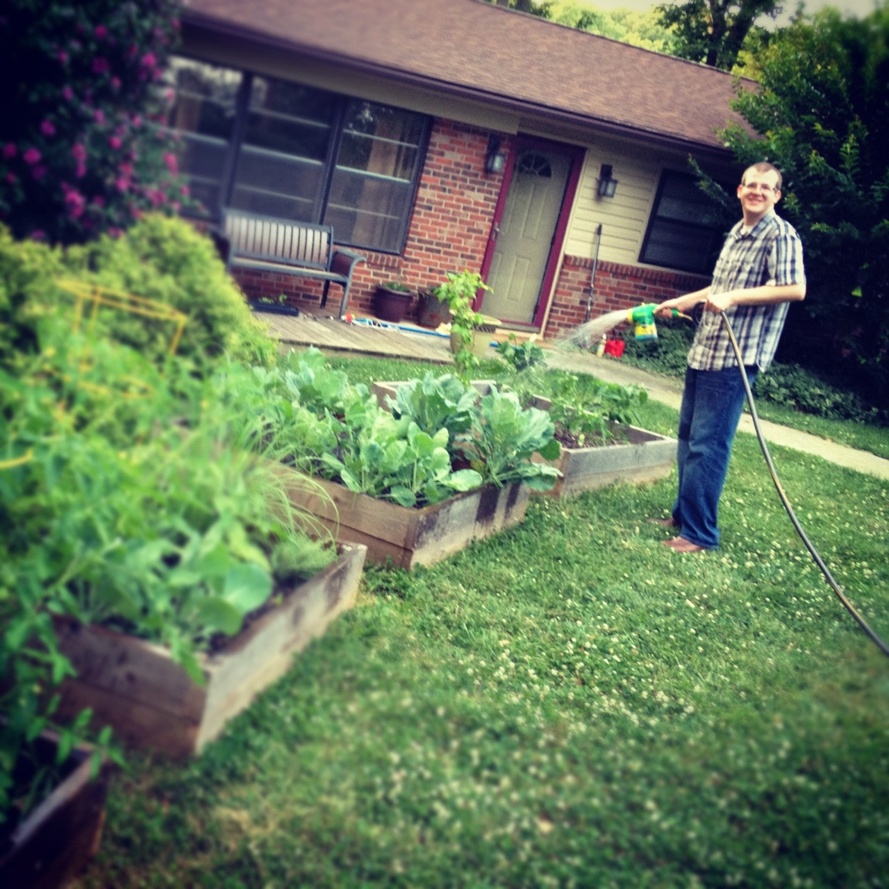 Brandon  is good front yard farmer.