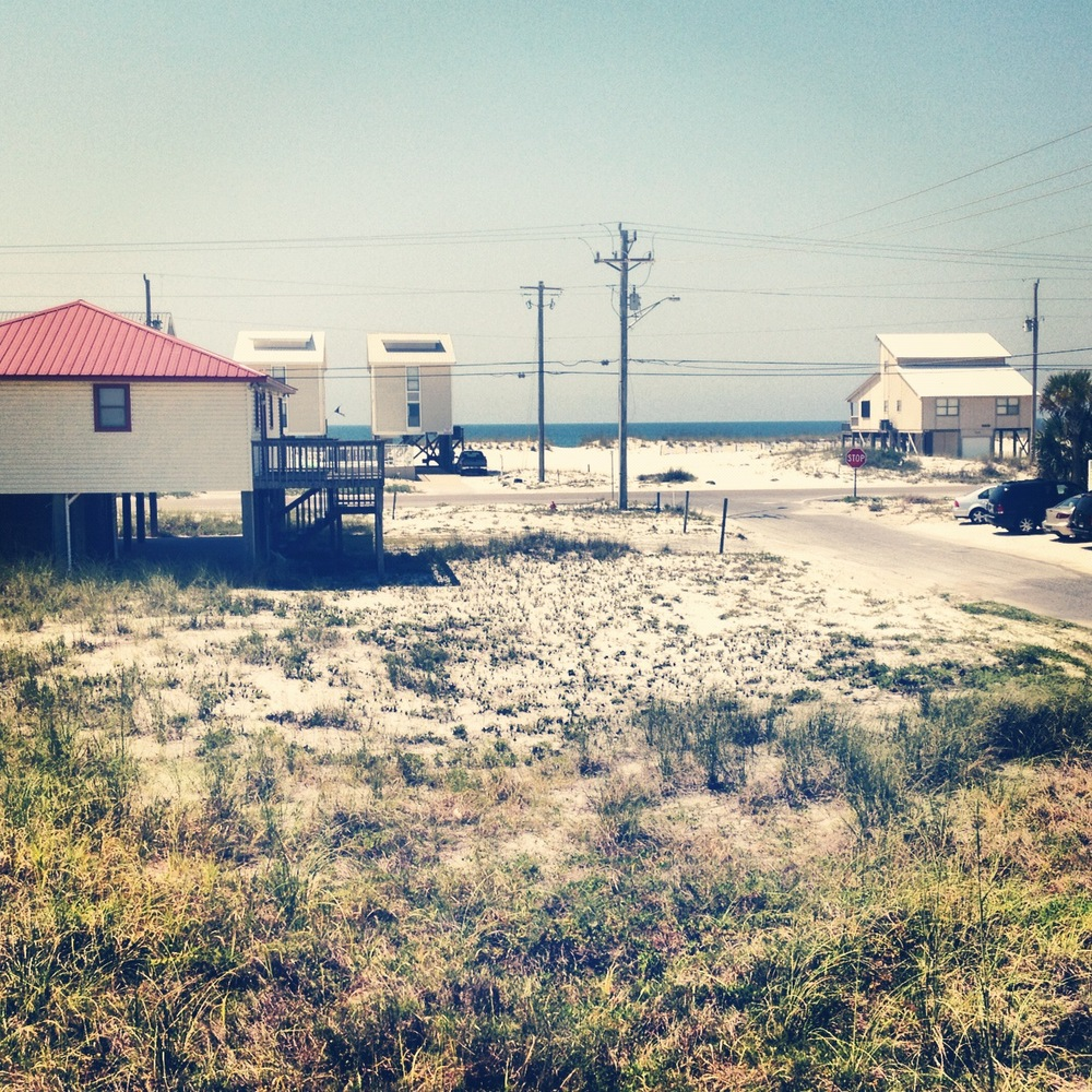 View from the front porch of our little beach house in Gulf Shores, Alabama. The water is just across the street.