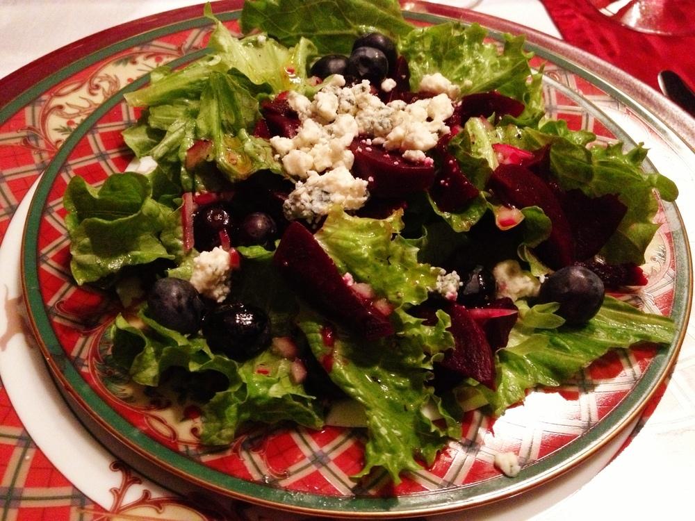 Beet, blueberry, and gorgonzola salad