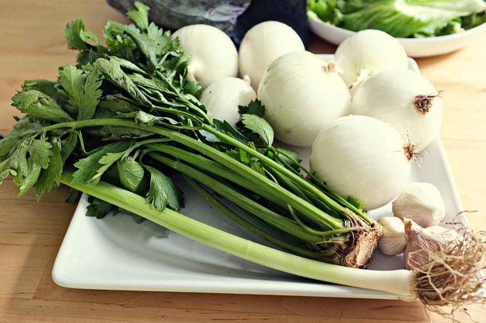 Leek, celery, onions, and garlic