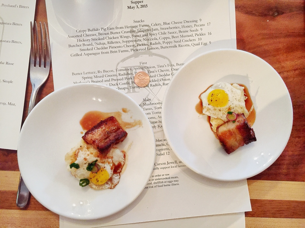 Miniature portions of Marlowe's Braised and Pressed Pork Belly, Smoked Cheddar Grits, Quail Egg
