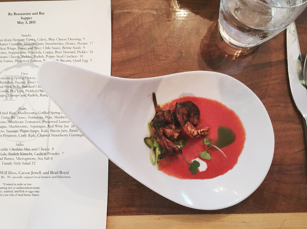 Cajun Shrimp in a Strawberry Gazpacho with Basil Oil