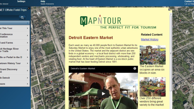 A screenshot of Map-N-Tour Inc.'s tour map of Detroit's Eastern Market.