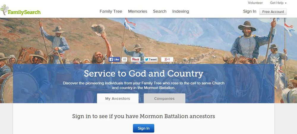Family Search shares information about members of The Mormon Battalion and their route to California with their subscribers and descendants world-wide.