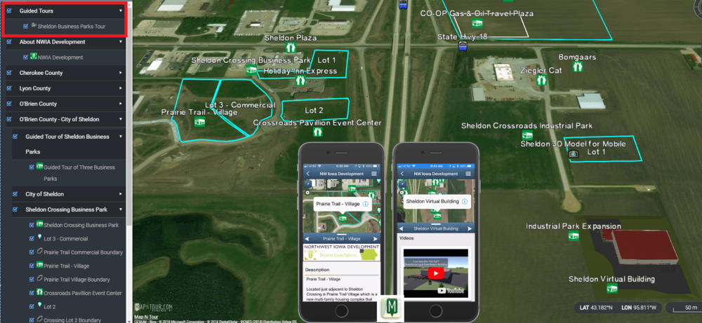 Northwest Iowa Development's member, Sheldon Chamber and Development, added promotional content of three of their prime business parks. They showcase business expansion opportunities on the interactive map and offer prospects a fly-through tour video.