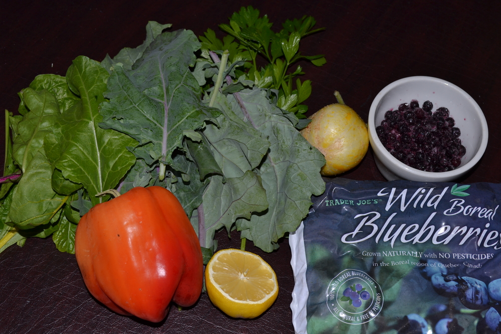 The kale, swiss chard, parsley, and lemon cucumber are from my garden!