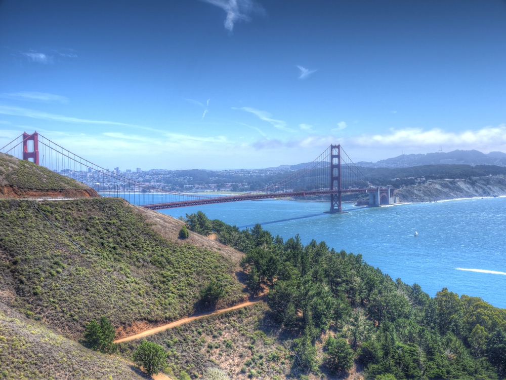 Golden Gate Bridge and San Francisco beyond.
