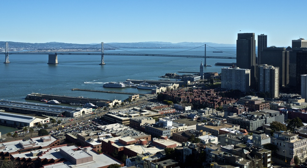 San Francisco Bay Bridge seen from Coit Tower
