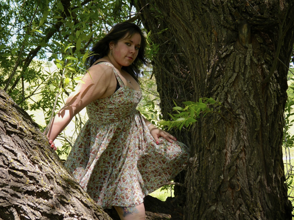 Melissa really did climb the tree in a dress.