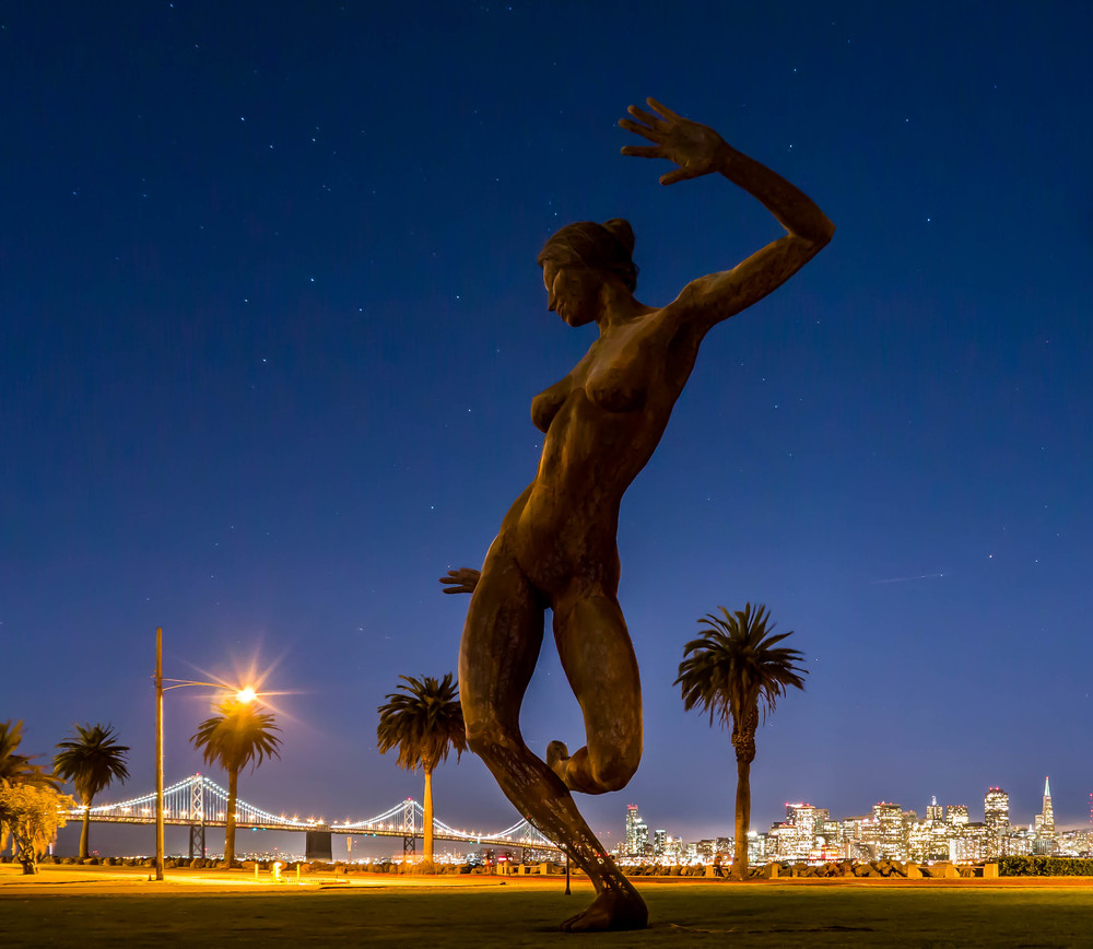 Bliss Dance and the SF Skyline and Bay Bridge at night