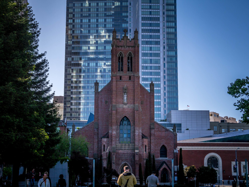 St. Patrick's Cathedral across Mission St from Yerba Buena Gardens.