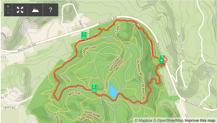 Runkeeper map of the hike