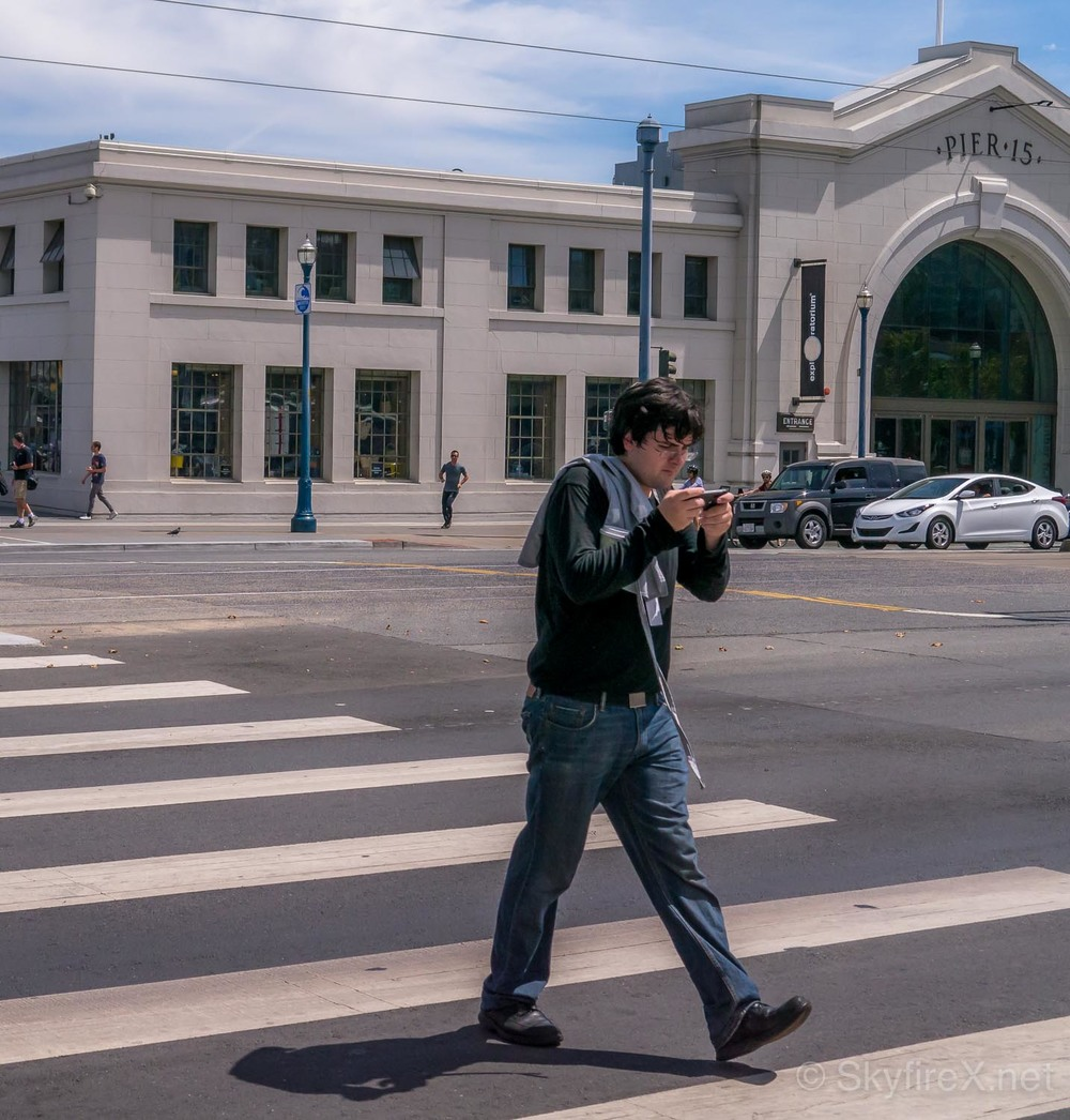 A Man #Texts His Way Across The #Embarcadero