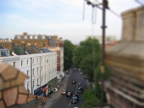 Playing with tilt shift. Rooftop in South Kensington, London.