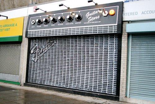 Amazing guitar shop front.