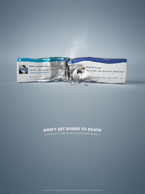 No social media behind the wheel advert