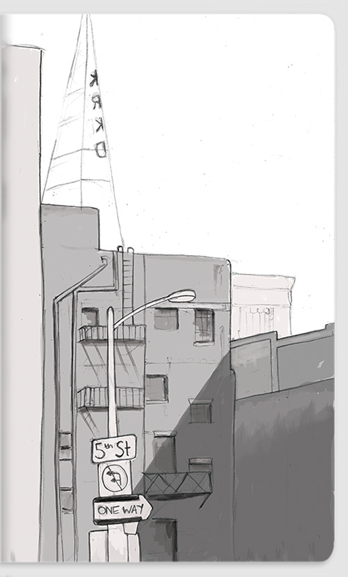 Downtown LA. Pencil with shading in photoshop.