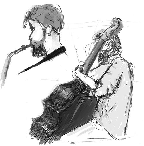 Jazz at Sunday brunch. Pen, digital shading.