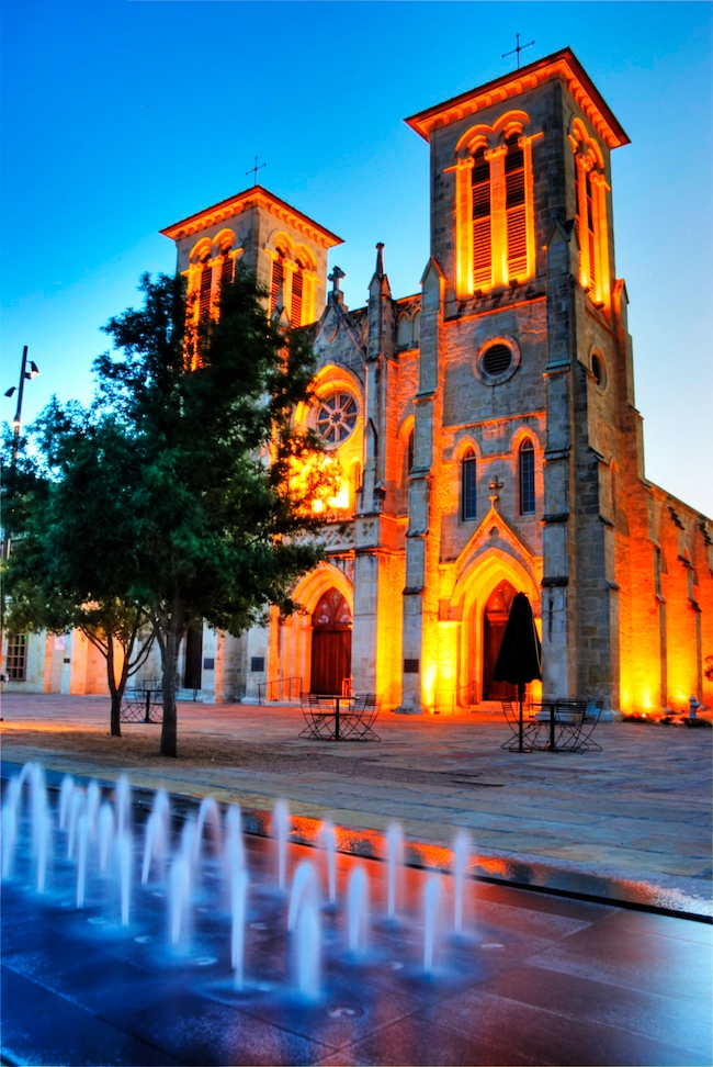 San Fernando Cathedral Dusk Fountain Hdr Version 2 Jpg