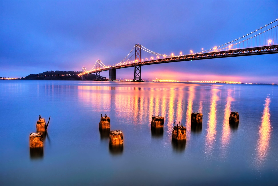 Bay Bridge blue hour pilings HDR - Version 2.jpg